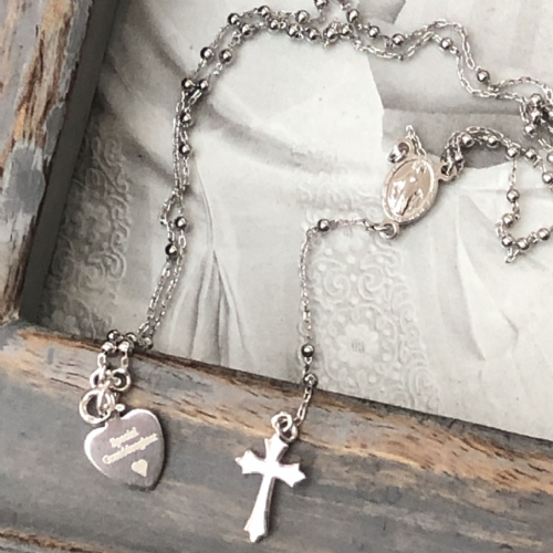 Holy Communion silver rosary necklace - FREE ENGRAVING